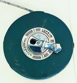 Old LUFKIN RULE 100 ft. Engineers wind up metal measuring tape made in Saginaw, Michigan for Sale in Saginaw, MI