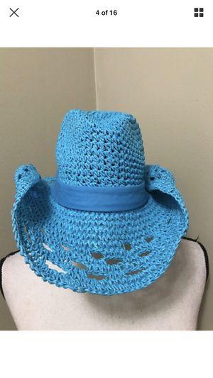 Blue Western Lace Toyo Straw Rolled Brim Cowgirl Cowboy Hat Scarf band for Sale in Portland, OR