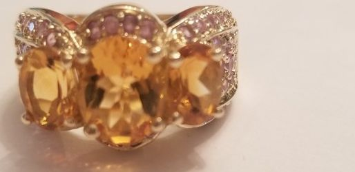 14kt GOLD PINK SAPPHIRES AND CITRINE RING SIZE 7.5 for Sale in Montgomery Village,  MD