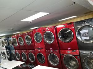 Red electric front load sets washer and dryer in exellent condition for Sale in McDonogh, MD