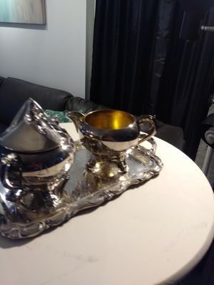 "LOVELY 3 PC SILVER F. B. ROGERS CREAMER SET W/12"" TRAY for Sale for sale  Marietta, GA"