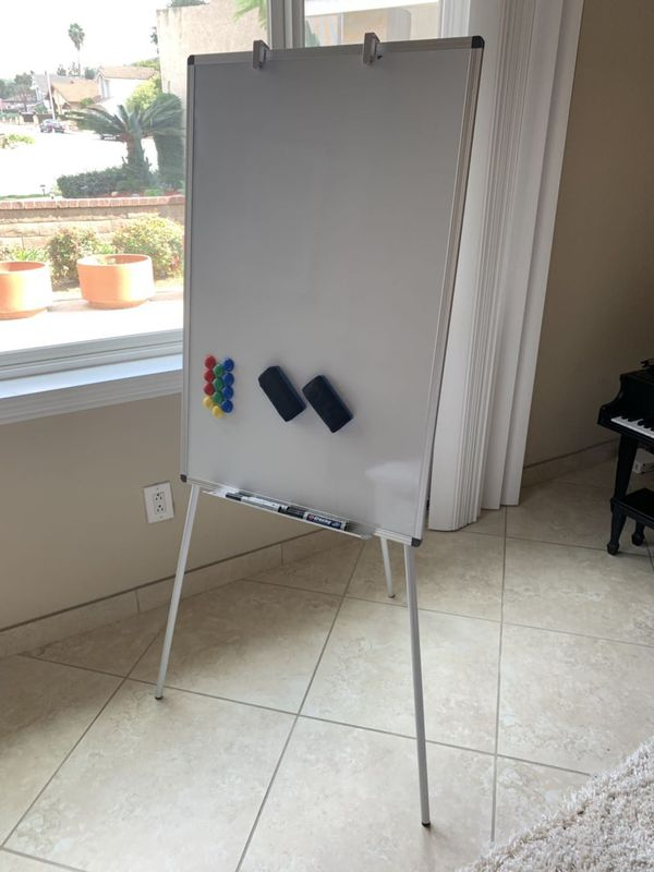 New VivReal 24x36 inch tall magnetic dry erase white board easel with adjustable tripod 5 feet overall height include pens magnets and eraser home st