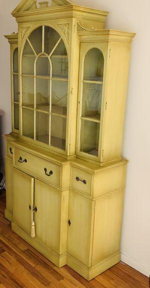 Antique Breakfront Hutch 2 pc Bar cabinet drop down secretary desk - $495 for Sale in Queens, NY