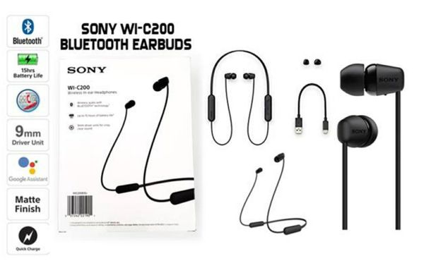 Sony WI-C200, Wireless, Bluetooth Headphones, Sony Hand Free Headphones, Manos Libre, Audifono Bluetooth, Headphones, Sony, Audifono