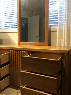 Spectacular 9 Drawer Golden Oak Dresser With SOLID OAK Framed Mirror for Sale in Kirkland,  WA