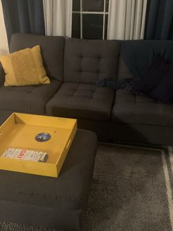 Denim gray couch and ottoman, pillows - Excellent condition for Sale in Norton,  MA