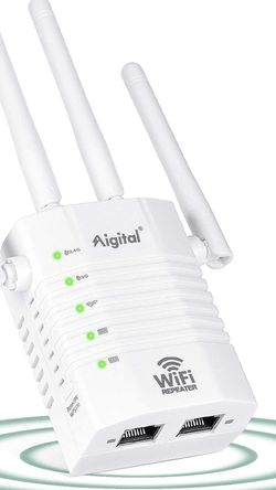 Aigital WiFi Range Extender, 1200Mbps WiFi Singal Booster Wireless Internet Amplifer, 2.4GHz & 5GHz Dual Band WiFi Extender with 4 Advanced External A for Sale in Redwood City,  CA