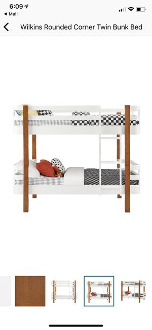 Rounded corner wood twin bunk bed for Sale in San Jose, CA