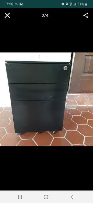 Black Three Drawer Metal File Cabinet with Keys for Sale in Biscayne Park, FL