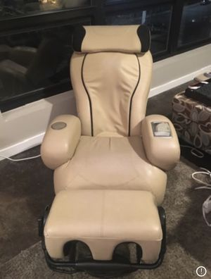 P-A-I-R of SHARPER IMAGE LEATHER I-JOY Massage Chairs Foot Massage Ottoman for Sale in Mansfield, MA