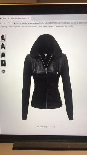 Women's Faux black leather jacket with removable hood. Fabric sleeves. Medium for Sale in Nashville, TN