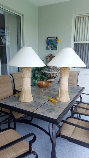 Pair of Tropical Table Lamps for Sale in Haines City, FL