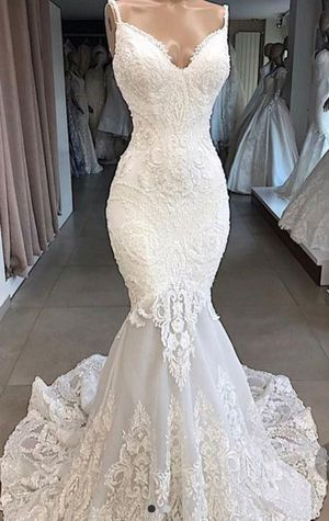 Elegant Tulle Spaghetti Strap Beaded Lace Mermaid Dress for Sale in Pageland, SC