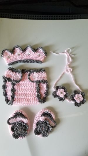 Crochet Baby Girl Princess Diaper Cover Outfit for Sale in Plant City, FL