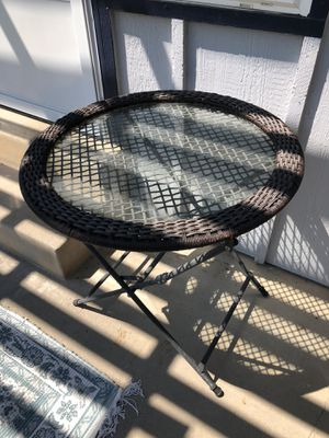 Large Patio Side Table or Plant Stand w/ Rattan Edging for Sale in Littleton, CO