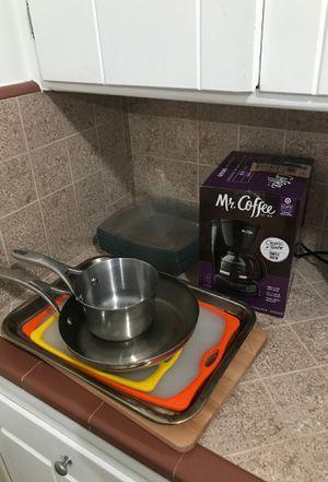 Kitchen bundle: Pots, coffee maker, plates, baking sheet for Sale in San Diego, CA