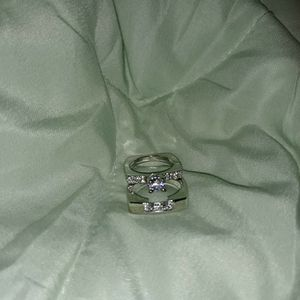 Set 2 Piece 925 Sterling Silver Engagement Wedding Ring, Size 5. for Sale in Dallas, TX