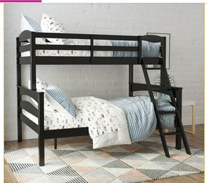 Better Homes & Gardens Leighton Wood Twin-Over-Full Bunk Bed, Black for Sale in Las Vegas, NV