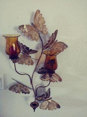 Gold colored butterfly wall candle scone holder for Sale in Albuquerque, NM