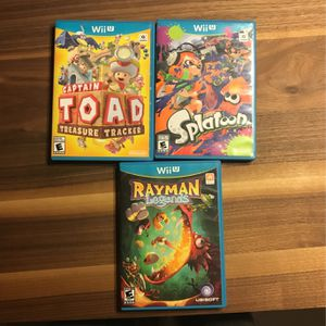 Nintendo Wii U Games Captain Toad, Splatoon, Ray man Legends for Sale in Mesa, AZ