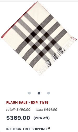 Burberry Brand new Fashion scarf 100% cashmere wool. In natural white color. Very very elegant. In stores it sells for $390. My wife doesn't want it. for Sale in Fort Lauderdale, FL