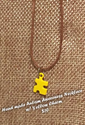 Handmade Autism Awareness Necklace - Yellow Charm for Sale in AR, US