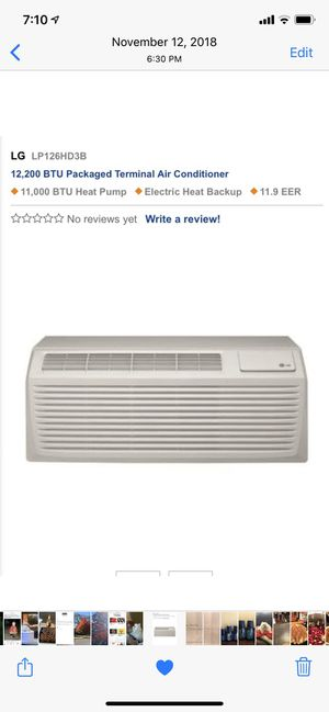 Air Conditioner/Heat PTAC. One unit New for Sale in Camp Hill, PA