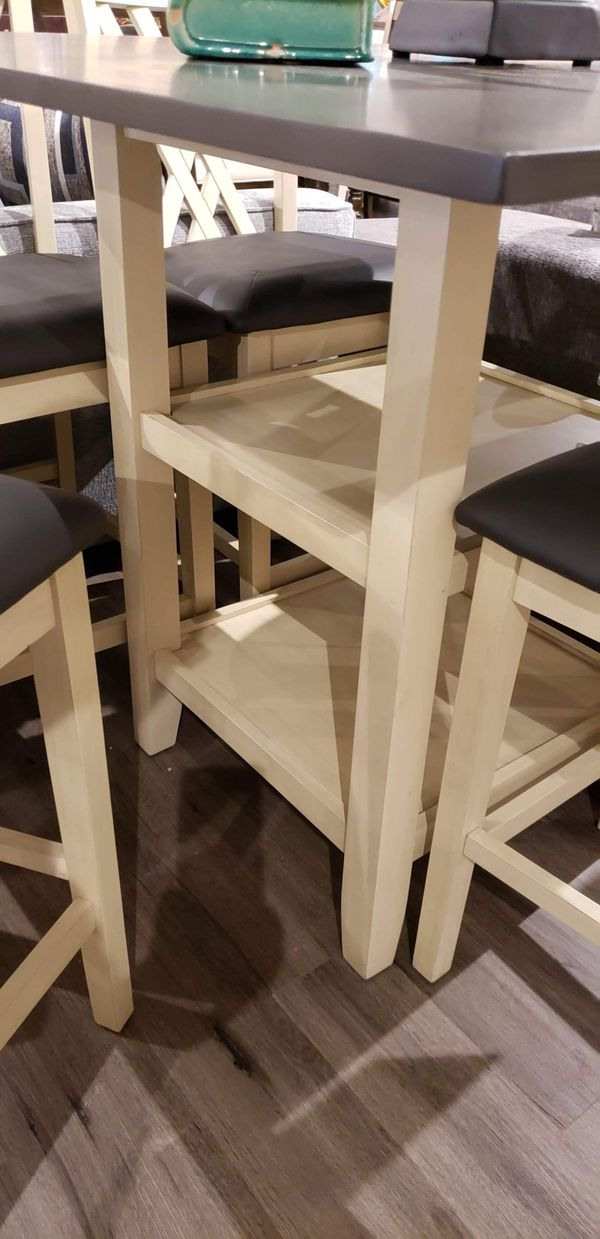 Counter height table and 4 stools