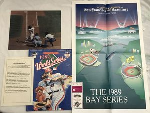 MLB 1989 World Series Program, Poster, Joe Morgan Picture, Candlestick Park WS 1989 Ticket All For $20 for Sale in Reedley, CA