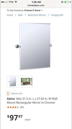 Gatco Max 31.5 in. L x 27.63 in. W Wall Mount Rectangular Mirror in Chrome-NEW for Sale in Avon Park, FL