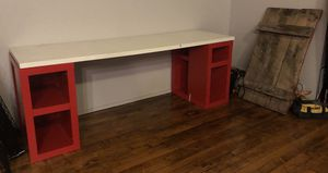 "IKEA White 77"" White Kitchen/Desk Tabletop WITH 2 Red Storage Cubes for Sale in Cleveland, OH"