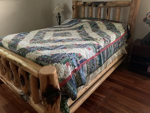 Queen Knotted Pine Wood Log Bed frame for Sale in Vancouver, WA