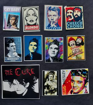 Vintage style Morrissey, The Cure, David Bowie, Cheech and Chong, Elvis Presley vinyl sticker lots of 11 for Sale in Cerritos, CA