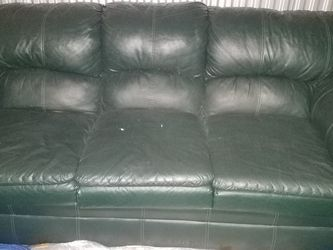 Hunter Green Leather Couch for Sale in Owings Mills,  MD