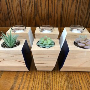 Handmade Succulent Planters Solid Maple Candle Votives for Sale in Palatine, IL