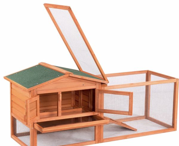 NEW Rabbit Hutch Wooden Pet House with Tray Chicken Coop Heavy Duty Wire Outdoor Indoor Safe Home