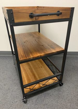 NEW 26x18x33 Inch Tall Solid Wood Rolling Kitchen Serving Cocktail Liquor Bar Food Cart Storage MSRP $140 for Sale in Los Angeles, CA