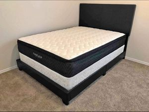 (Brand New In Box) Full Size Black Faux-Leather Bed Frame And Mattress Set for Sale in Atlanta, GA