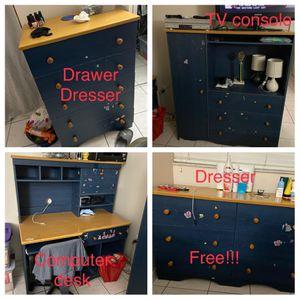 Free wood furniture bedroom set drawer dresser computer desk TV console for Sale in South Miami, FL