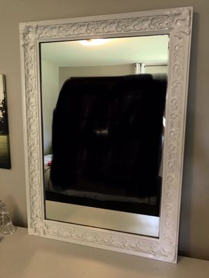 Large White Mirror vertical or horizontal, heavy for Sale in Roselle, IL