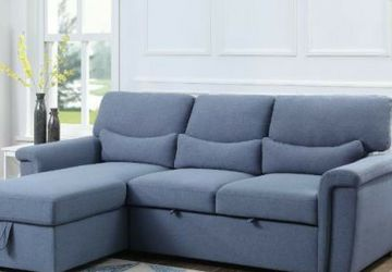 Price Online‼️ Blue Reversible Sleeper Sectional Sofa w/ Storage • Delivery • Assembly • FREE Financing ‼️Same as cash for Sale in Las Vegas,  NV
