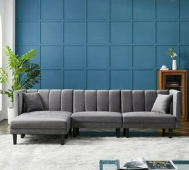 Brand New Reversible Faux Suede Sectional Sleeper Sofa & Chaise for Sale in Chicago,  IL