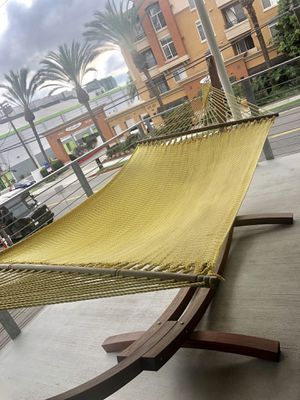 Yellow wood hammock patio furniture for Sale in Marina del Rey, CA
