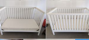 White baby crib convertible toddler bed and mattress for Sale in Phoenix, AZ