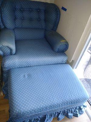 Blue Flower Chair or Ottoman for Sale in Sebring, FL