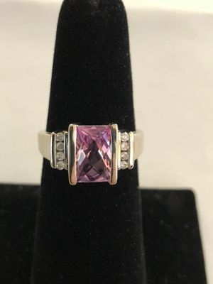 10 karat white gold diamond ring with pink CZ for Sale in Lexington, KY