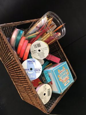 ARTS & CRAFTS BASKET SOLD TOGETHER MUGS, RIBBONS, PENCILS, NOTEPADS SUPPLIES for Sale in Hollywood, FL