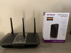 Linksys EA7300 router and Netgear CM500 modem for Sale in Visalia, CA