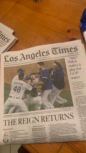 LA Times Dodgers World Series News Paper for Sale in South Gate, CA
