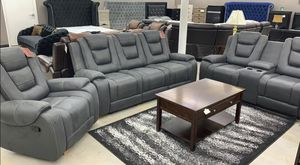 Yes stock available!! Great offer 3 pc grey reclining set💦NO CREDIT CHECK😘 for Sale in Houston, TX